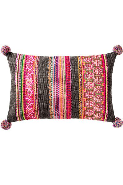 Embroidered-Cushion-with-pom-pom