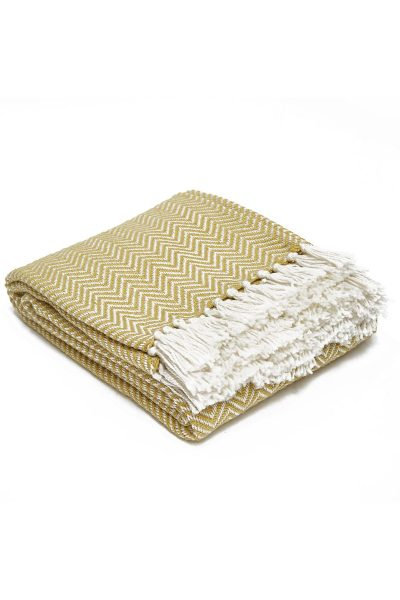 Weaver Green Herringbone Blanket - Gooseberry