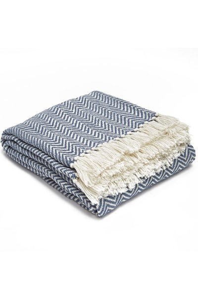 Weaver Green Herringbone Blanket - Navy