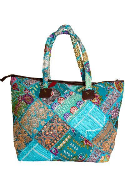Ornate Turquoise Patchwork Handbag
