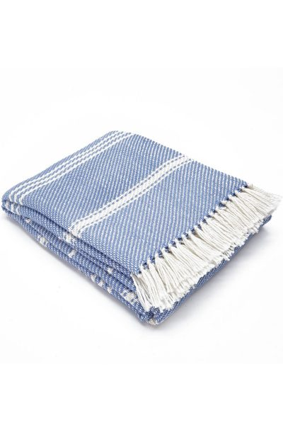 Weaver green Oxford Stripe Blanket - Cobalt