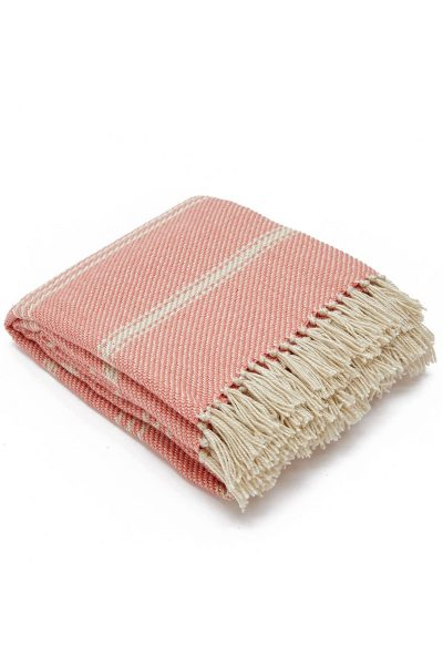 Weaver Green Oxford Stripe Blanket Coral- Coral
