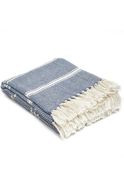 Weaver Green Oxford Stripe Blanket Navy