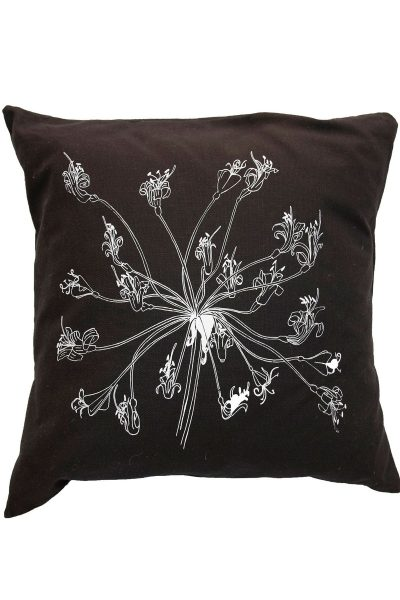 Black cushion with floral design