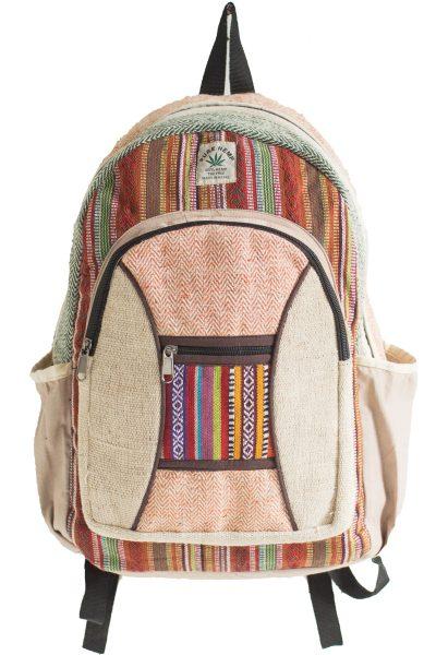 Hemp Backpack with Gheri Fabric Trim