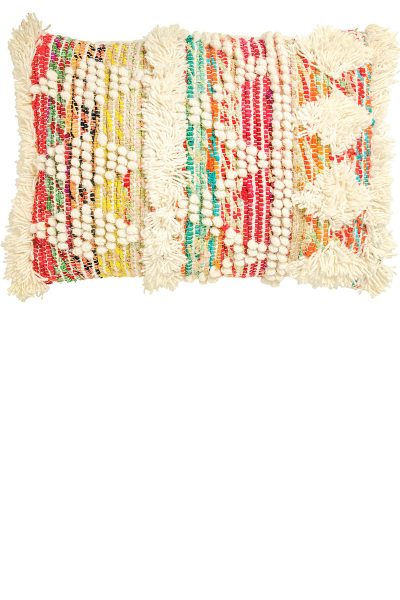 White/Multi Recycled Threads Large Cushion