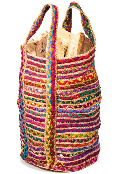 Multi Colour Cotton and Jute Chindi Bag