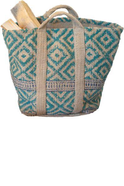 Jute diamond print log/laundry bag
