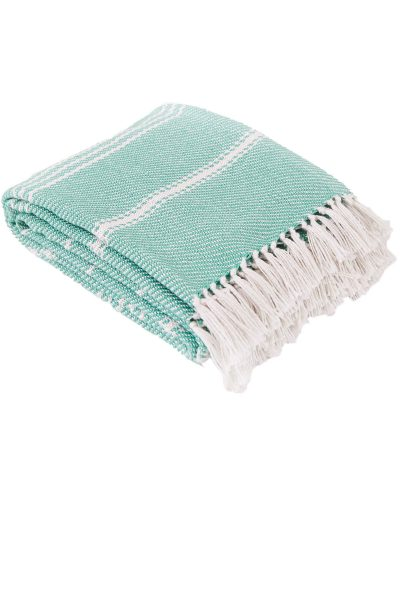 Oxford Stripe Aqua Blanket